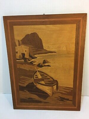 Vintage Italian wooden Marquetry Wall Plaque Wood Inlaid Picture Italy (3) T-13