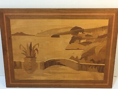 Vintage Italian wooden Marquetry Wall Plaque Wood Inlaid Picture Italy (4) T-13