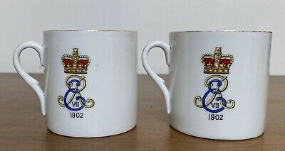 Two Antique 1902 Coronation Lithophane Mugs Westhoughton Eduard VII