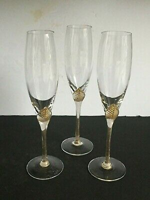 3pc Signed Vintage Venetian Gold Leaf Foil  Champagne Flutes RANDY STRONG Murano