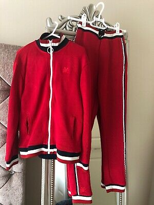 No Added Sugar Girls Boy Tracksuit Trousers Cardigan Set Red Stripes Age7 8 9 10