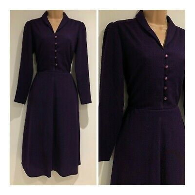 Vintage 1970's Deep Purple Textured Long Sleeve 40's Style Day Dress Size 10
