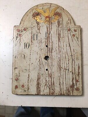 Antique American Wood Works Grandfather Clock Dial Folk Art Federal Eagle Roses