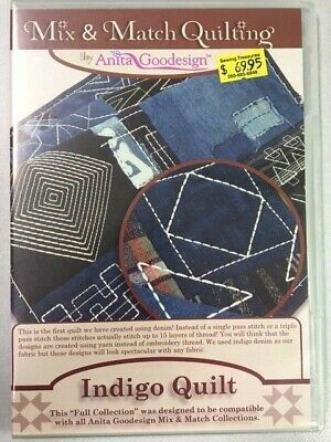 Indigo Quilt Anitagoodesigns Machine Embroidery Mix and Match Quilting