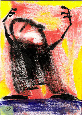 dreaming the sky e9Art ACEO Outsider Folk Art Brut Painting Expressionism Naive