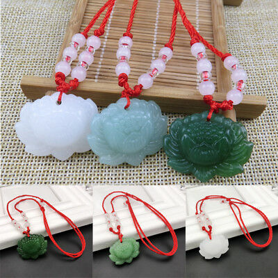 Chinese Green Jade Lotus Pendant Necklace Fashion Charm Jewelry Lucky Amulet Hot