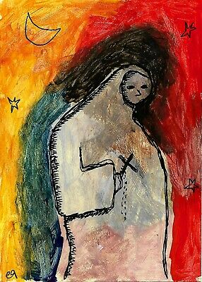 fake it 'til you make it e9Art ACEO Outsider Folk Art Brut Expressionism Paintin