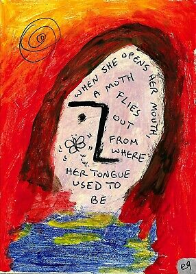 moth girl e9Art ACEO Outsider Folk Art Brut Painting Expressionism Contemporary