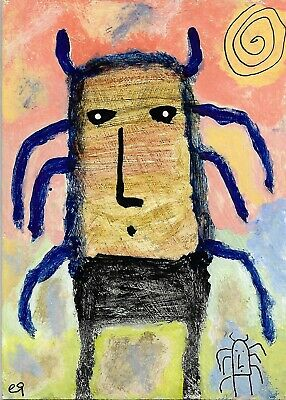 creature, big and small e9Art ACEO Outsider Folk Art Brut Painting Expressionism