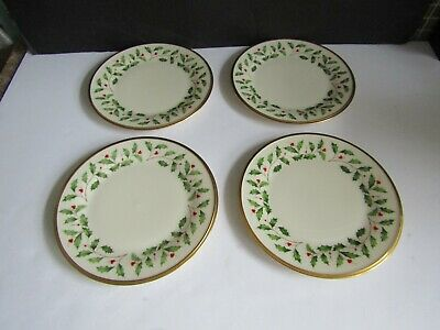 "4 Lenox Holiday 8 1/8"" Holly Berry Salad Plates Bone China *Mint*"