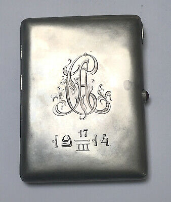 Antique Imperial Russian 84 Sterling Silver Cigarette Case Holder