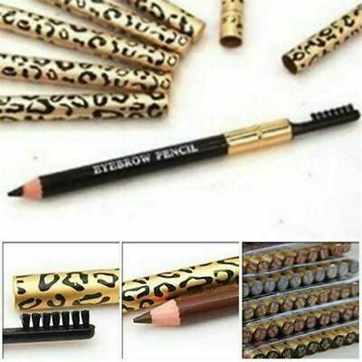 2in1 Waterproof Eyebrow Pencil With Brush Leopard Print Long Lasting Makeup