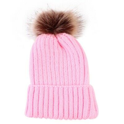 Baby Boy Girl Winter Beanie Hat Cap Warm Fur Pom Bobble Knit Outdoor Wool child