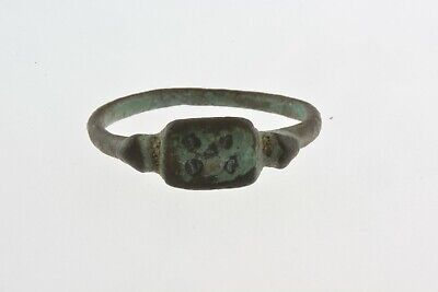 Ancient Roman to Byzantine era bronze ring EVIL EYES 1st-7th century AD Sz 7 1/2