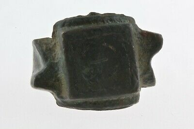 Byzantine Or Early Medieval Bronze Ring Cross Decorated 800-1200 Ad Size 6