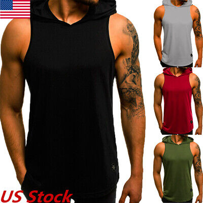 US Mens Slim Fit Sleeveless Shirts Hooded Tops Muscle Hoodie Casual Vest T-shirt