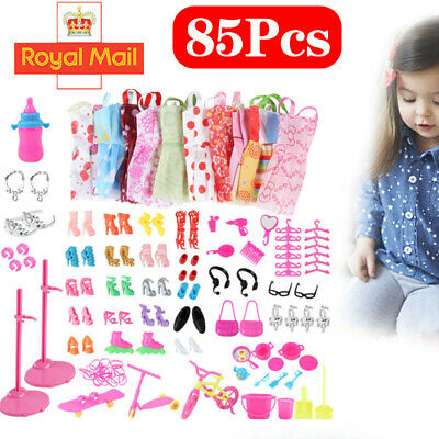 Barbie Doll Dresses, Shoes and jewellery Clothes Accessories 85pcs/Set Xmas Gift