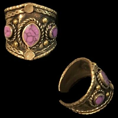 Ancient Silver Decorative Gandhara Bedouin Ring With Purple Stone 300 B.C (1)