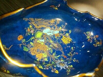 Rare Antique 1900's Beautiful Blue Guilded Carltonware Gondola Bowl.