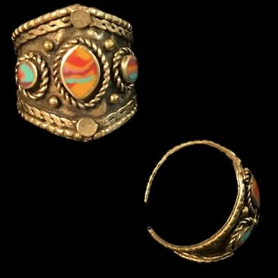 Ancient Silver Decorative Gandhara Bedouin Ring With Multi Stone 300 B.C (2)