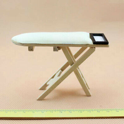 1/12 Miniature Wooden Ironing Board Doll House Bedroom Furniture Decoration Cute