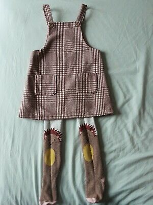 New Season Next Girls Checked Pinafore Dress And Matching Tights Size 2-3 Years