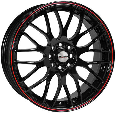 """Alloy Wheels 17"""" Calibre Motion Black/Red For VW Fox 03-11"""