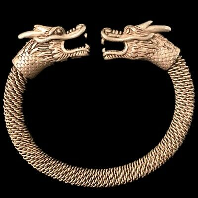 Rare Ancient Twisted Viking Silver Torc With Beast Head Terminals  (3)