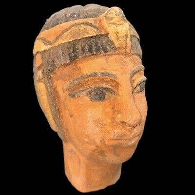 EGYPTIAN PHAROAH BUST STATUE, LATE PERIOD 664 - 332 BC (1) Large Over 12 Cm