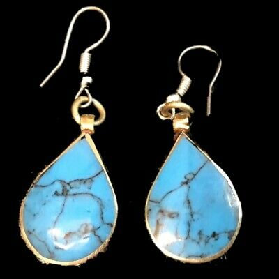 VERY RARE ANCIENT SILVER EARRINGS WITH BLUE STONES 200-400 AD (Large Size) (7)