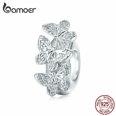 BAMOER Real S925 Sterling silver charm Clear CZ Butterfly Fit Bracelet Jewelry