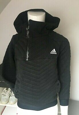 Adidas black quilted hooded top-9-10yrs - EUC