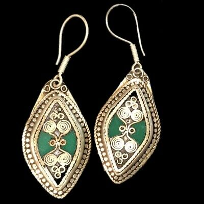 Very Rare Ancient Silver Earrings With Green Stones 200-400 Ad (5)