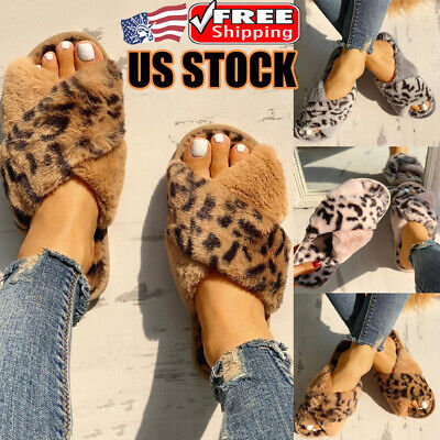 Women Winter Slippers House Indoor Home Soft Fluffy Fur Flat Casual Sandal Shoes