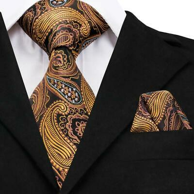 USA Classic Men's Silk Tie Orange Paisley Party Necktie Hanky Wedding GP-003