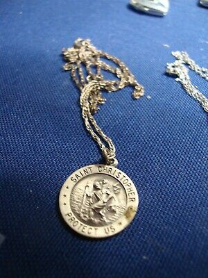 Grandmas Estate 925 Sterling Silver Saint Christopher Necklace