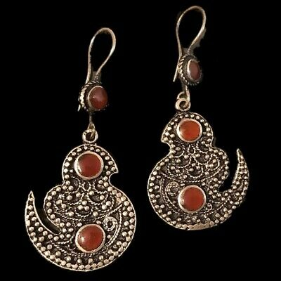 Very Rare Ancient Silver Earrings With Carnelian Stones 200-400 Ad (8)