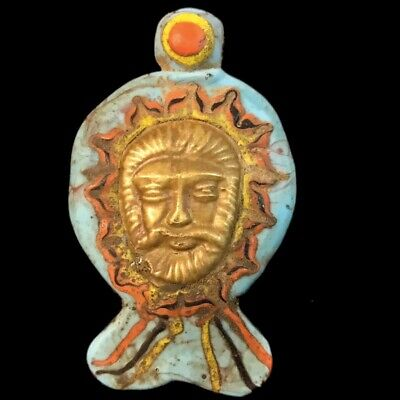 Rare Ancient Phoenician Pendant With Gold Decoration. Super Quality (9)