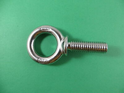 "Stainless Steel 316 1/2"" x 1 1/2"" UNC Machinery Eye Bolt Marine Grade"