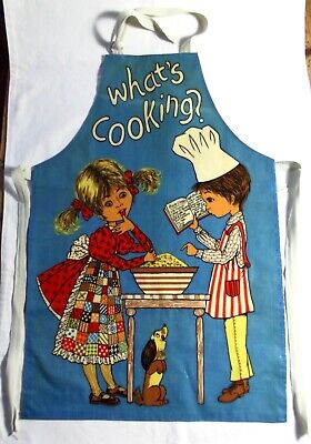 """Vintage 1960s Or 1970s Child's Oil Cloth Apron - Size 14 - """"What's Cooking"""""""