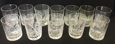 12 Cut Glass Old Fashioned Whiskey Rock Crystal Glasses - Antique