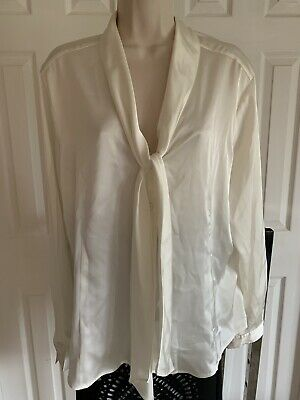 Ivory Classic Long Satin Robe Sleepwear Nightwear Dressing Gown Size 14//16  J52