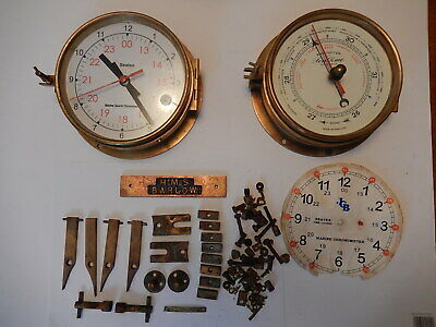 Superb Brass Case Ships Clock & Barometer with Original fittings 3021