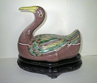 Old Chinese FAMILLE ROSE PORCELAIN - DUCK TUREEN Bowl - CARVED WOOD STAND