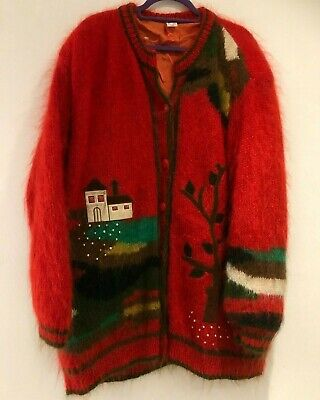 Vintage 80's Red Mohair & Wool Mix Houses & Trees Applique Over Size Cardigan