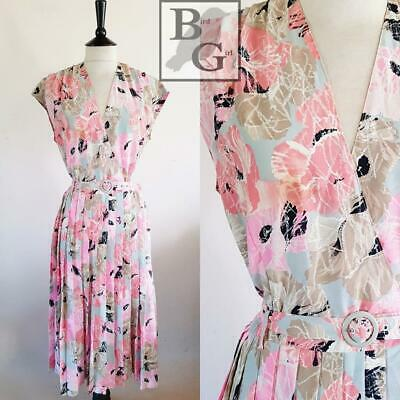 Boho Chic 1980S Vintage Pink & Grey Floral Print Pleated Tea Dress 12-14 M