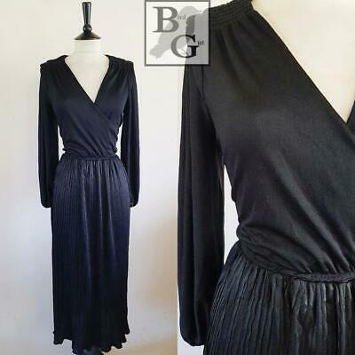 Boho Chic 1970S Vintage Black Jersey Elegant Pleated Dress 12-14 M