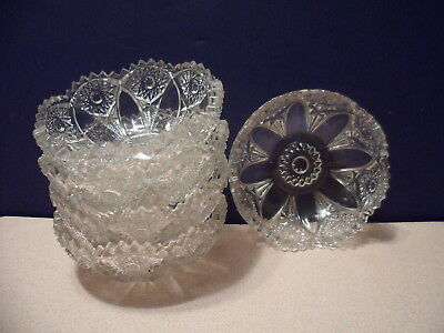 "American Brilliant Glass Set of 5 4"" Berry Bowls  W  Sawtooth Edges"