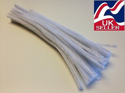 "10 - 5,000 x WHITE chenille craft stems pipe cleaners 30cm (12"") long, 6mm wide"