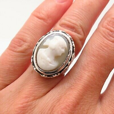 Antique Art Deco Sterling Silver Collectible Handmade Cameo Lady Repousse Ring